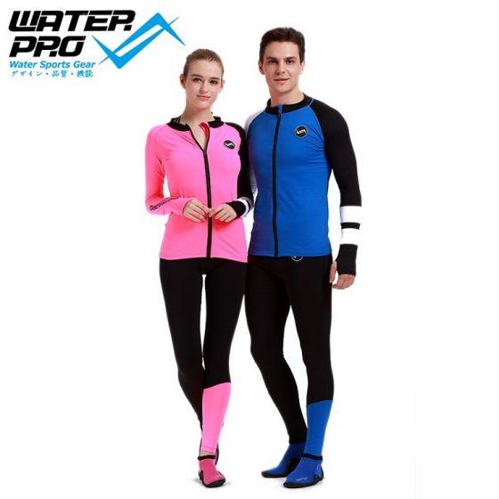 WATER PRO Two Tone Zip Up Rash Guard