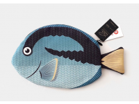 PAAPAOW Royal Blue Tang fish pouch (PET bottles waste recycled fabric)