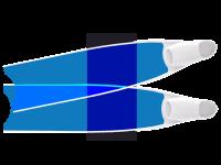 LEADERFINS LIMITED EDITION BLUE COLOUR SEMI-TRANSPARENT BI-FINS-WHI