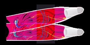 LEADERFINS LIMITED EDITION PINK FISH SEMI-TRANSPARENT BI-FINS-WHI